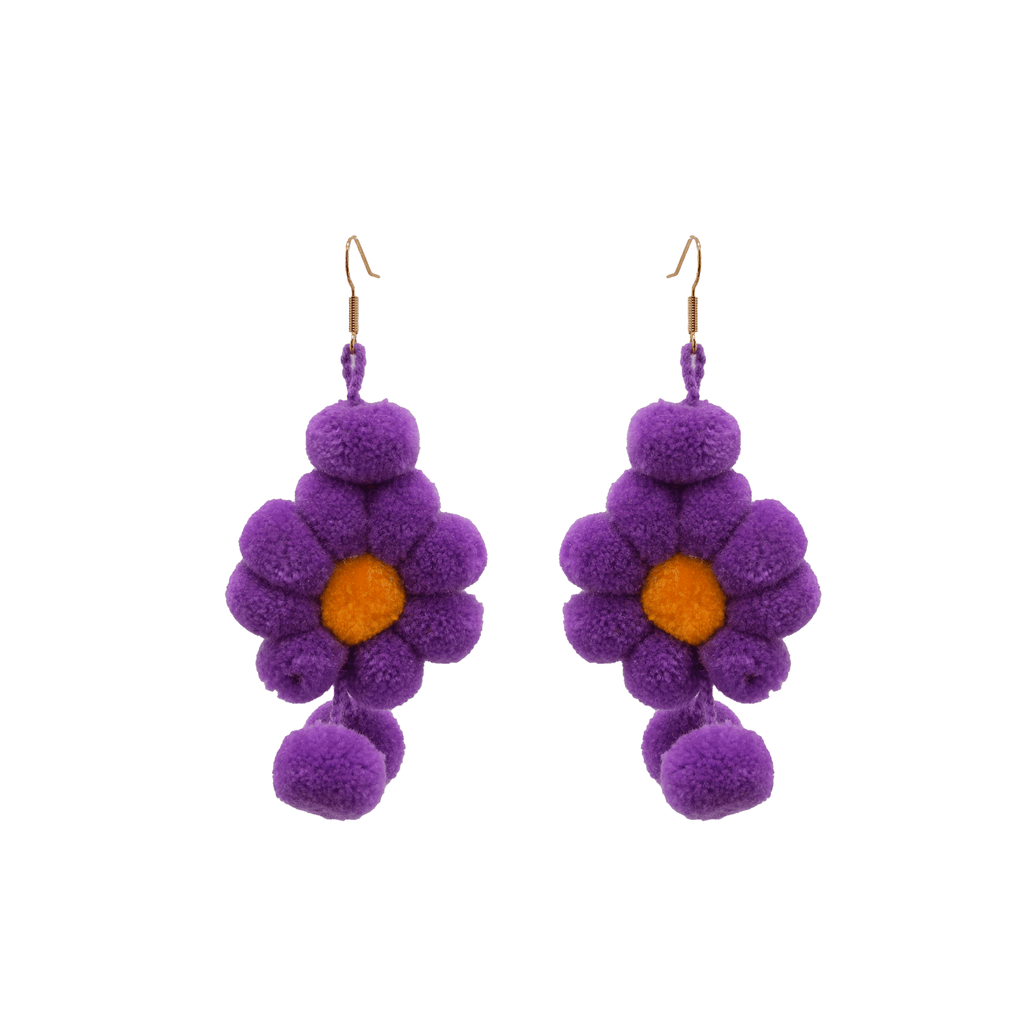 Pom Flower Earrings Ultra Violet - Josephine Alexander Collective