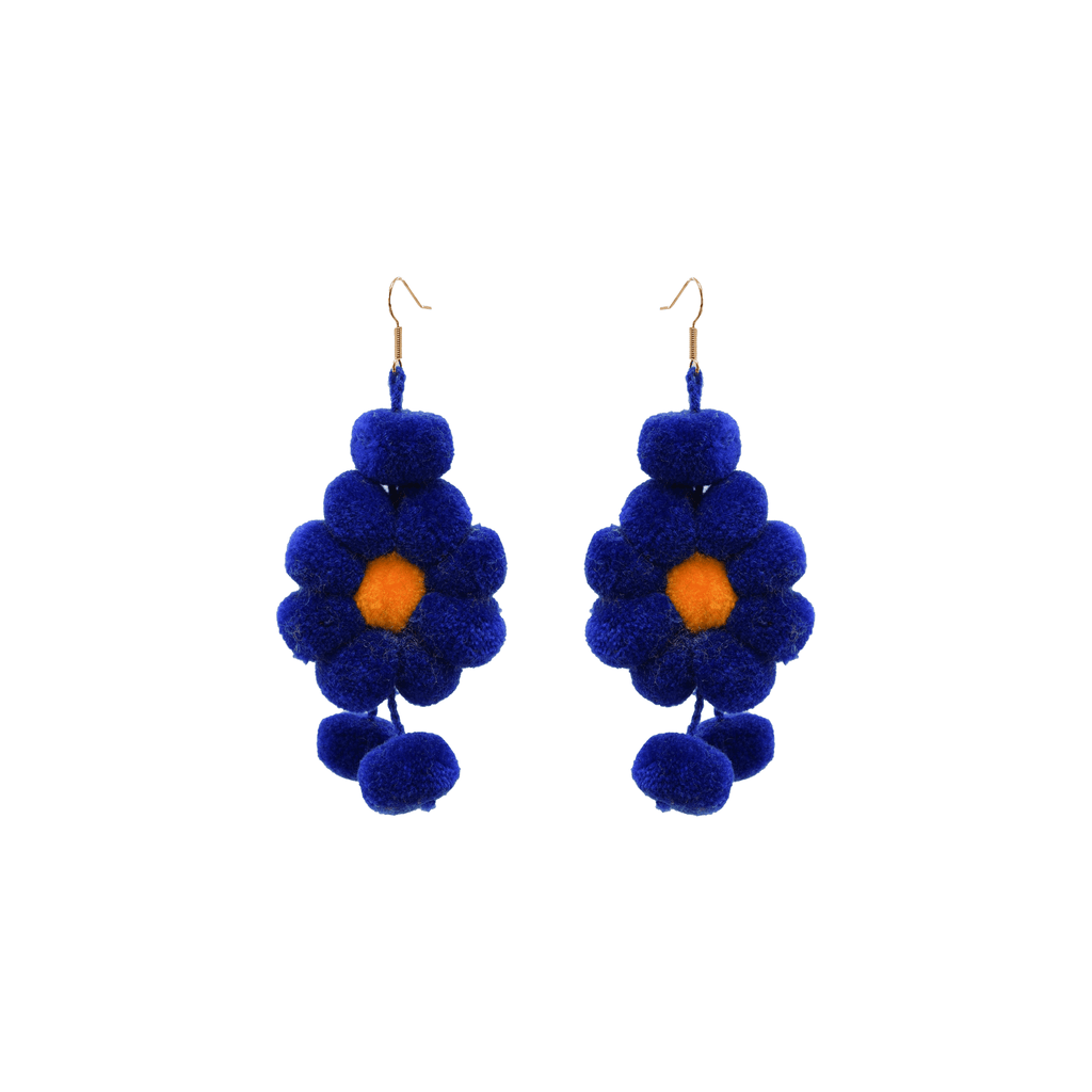 Pom Flower Earrings in Blue - Josephine Alexander Collective