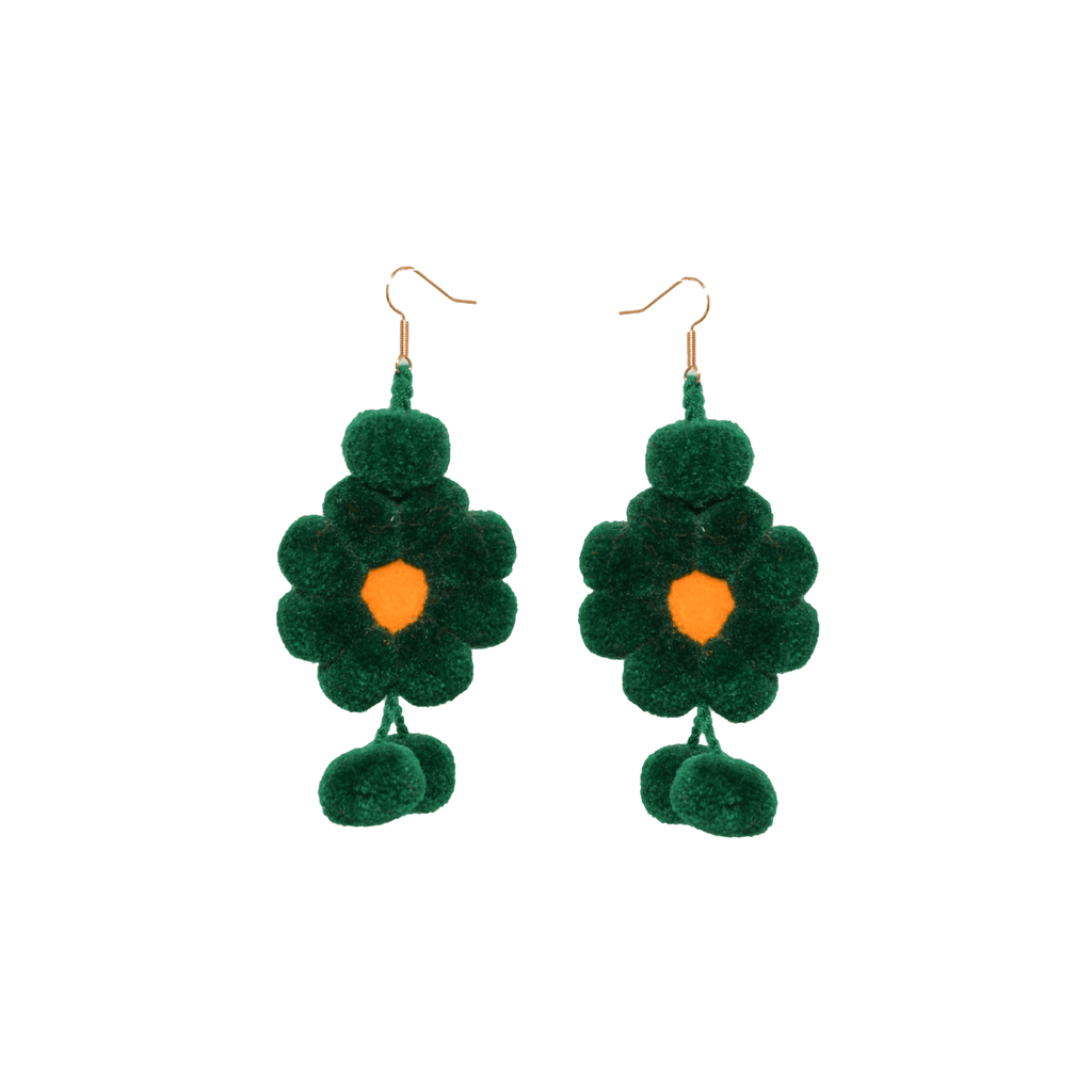Pom Flower Earrings in Evergreen - Josephine Alexander Collective
