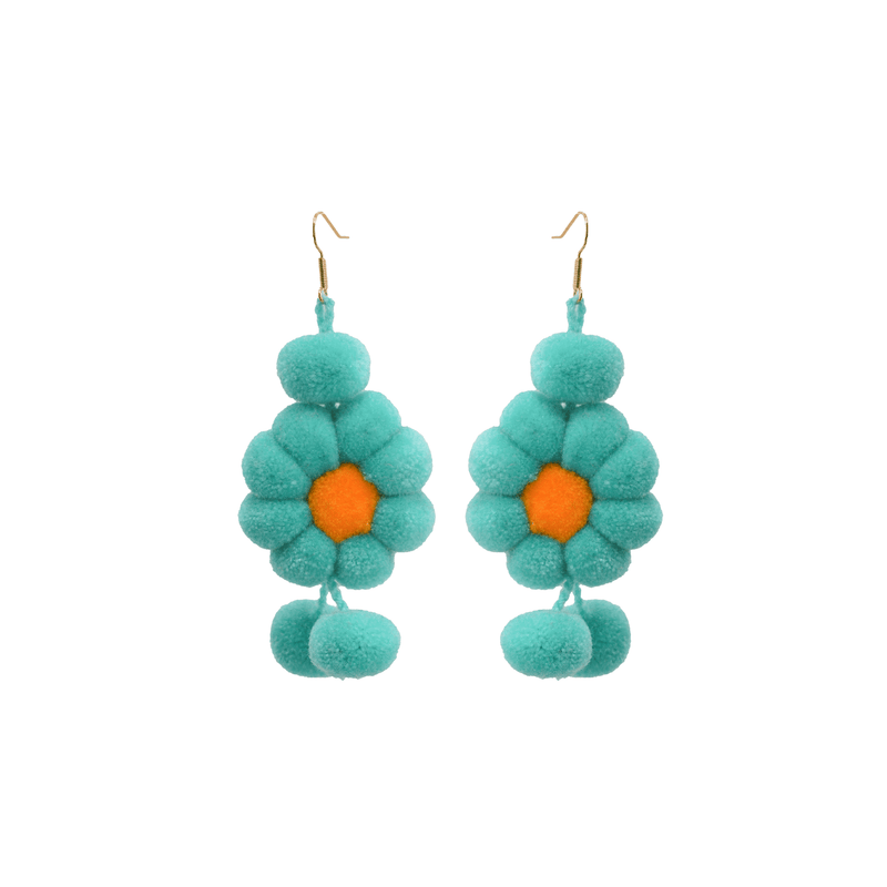 Pom Flower Earrings Mint - Josephine Alexander Collective