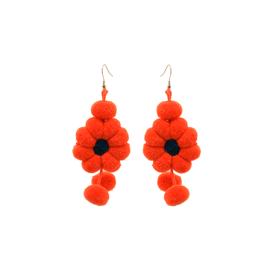 Pom Flower Earrings in Orange - Josephine Alexander Collective