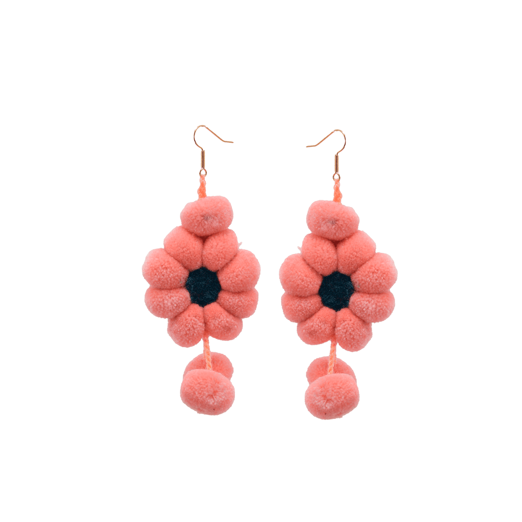 Pom Flower Earrings Peach - Josephine Alexander Collective