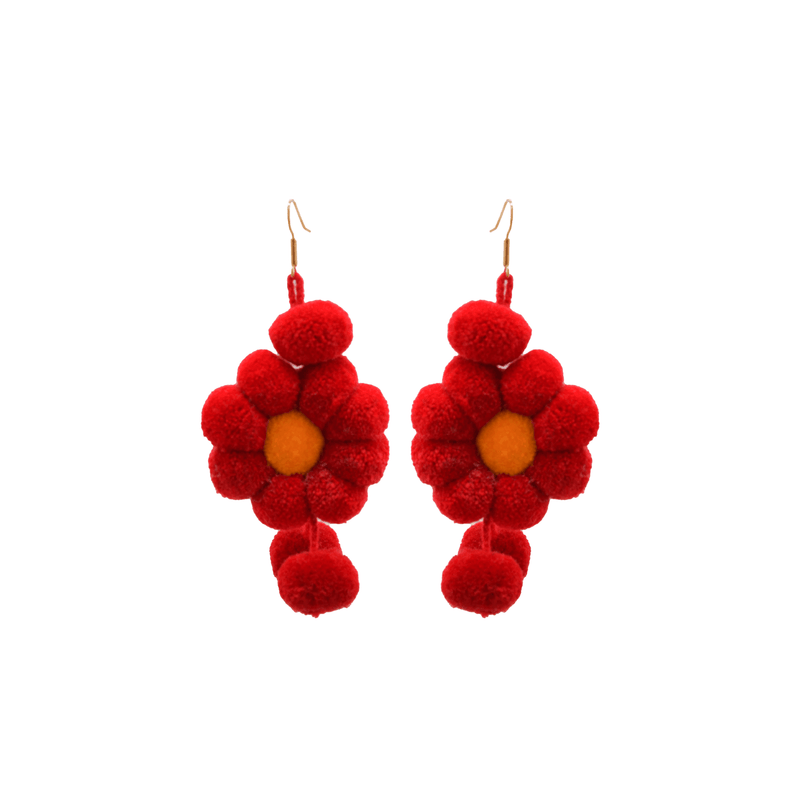 Pom Flower Earrings in Red - Josephine Alexander Collective