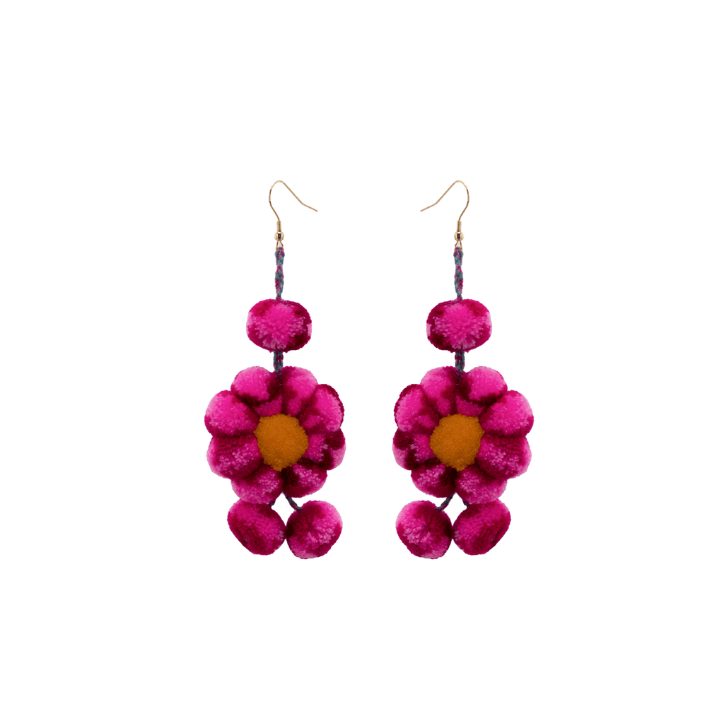 Pom Flower Earrings Tie Dye Hot Pink - Josephine Alexander Collective