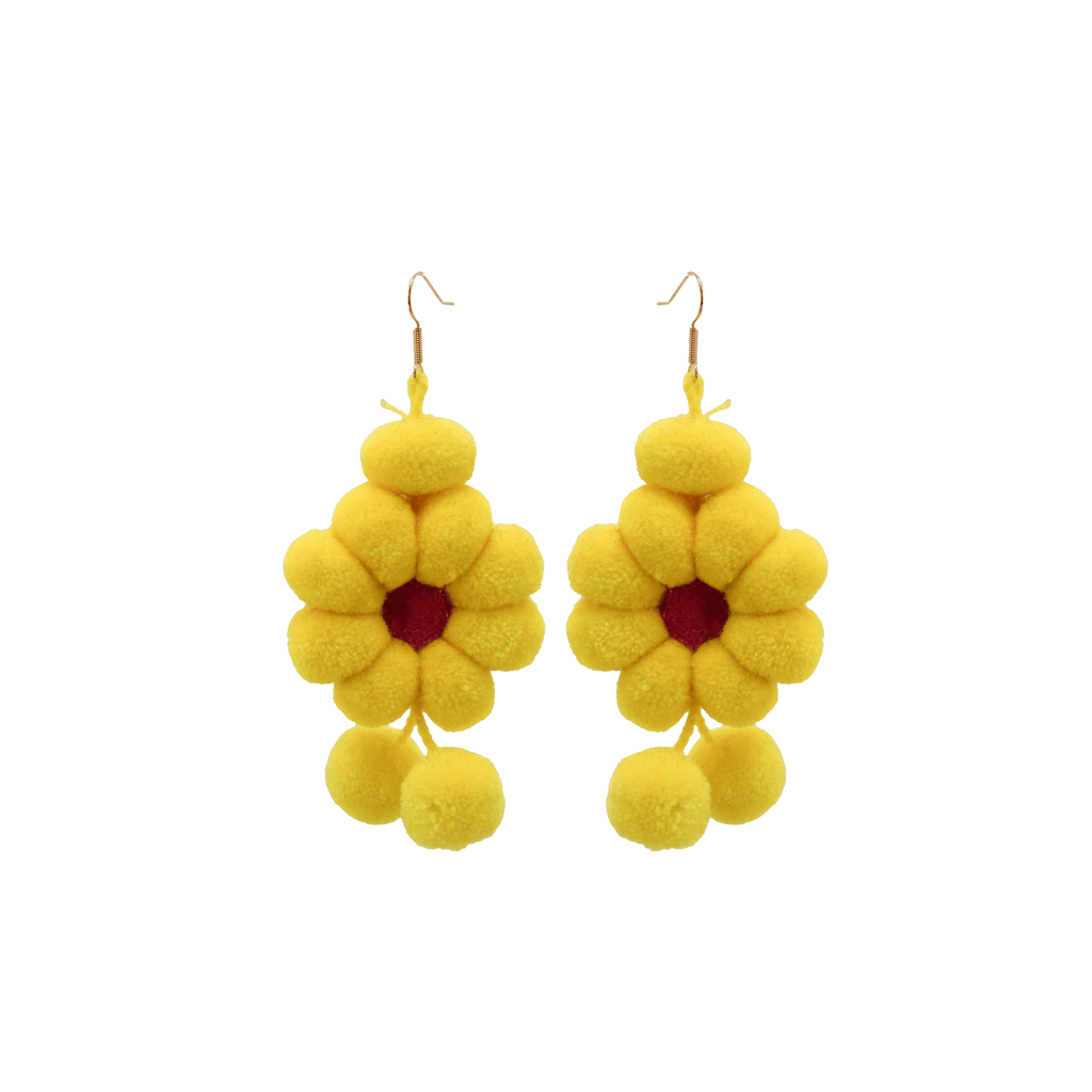 Pom Flower Earrings in Yellow Daisy - Josephine Alexander Collective
