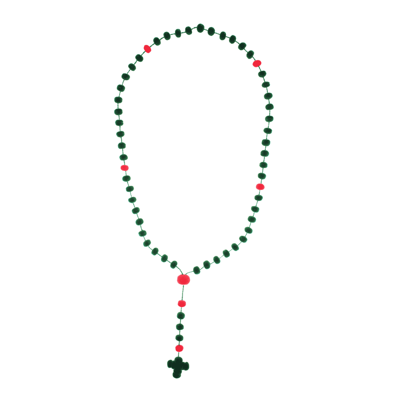 Pom Rosary in Green and Pink - Josephine Alexander Collective