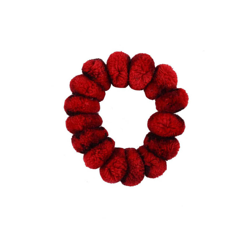 Pom Scrunchie in Red Sangria - Josephine Alexander Collective