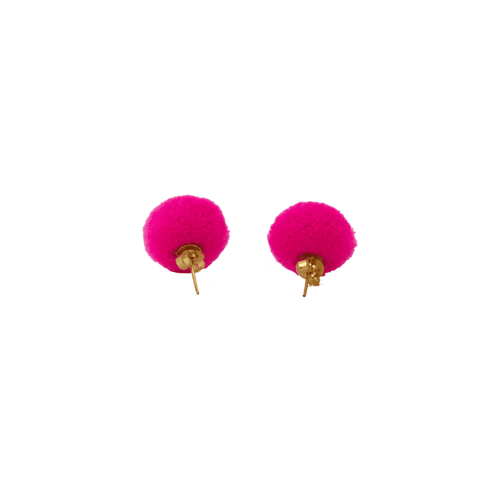 Pom Dot Studs in Hot Pink
