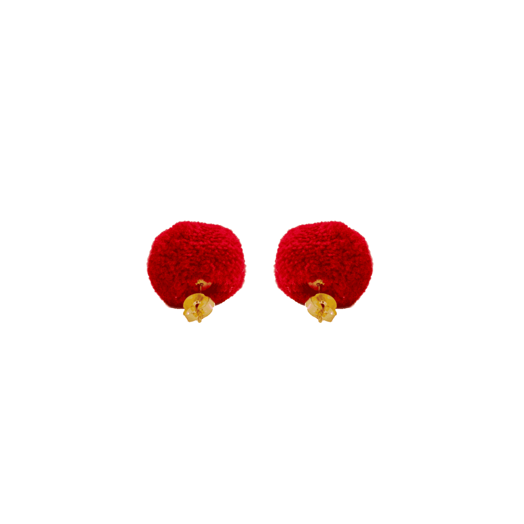 Pom Dot Studs in Cherry