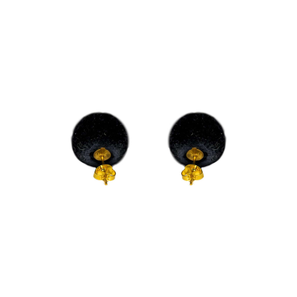 Pom Dot Studs in Licorice