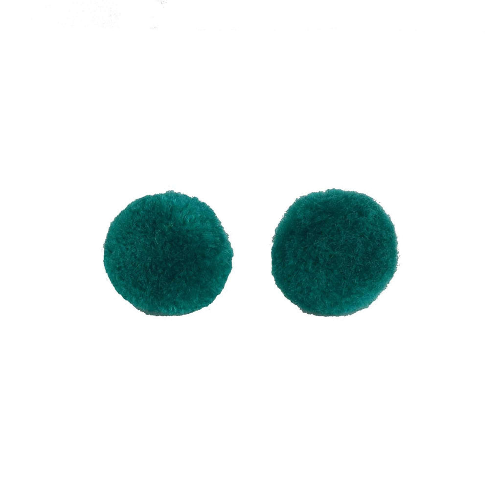 Pom Dot Studs in Turquoise Green