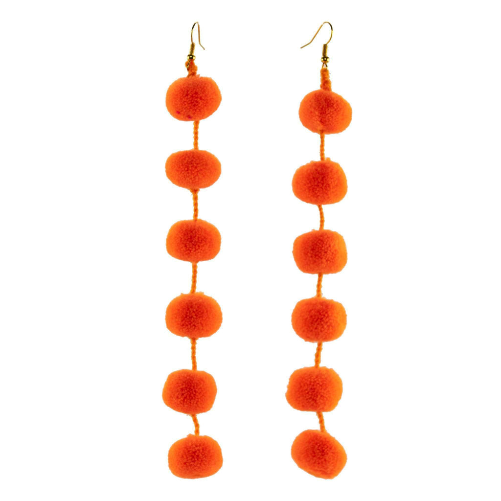 Pom Drop Earrings in Bright Orange