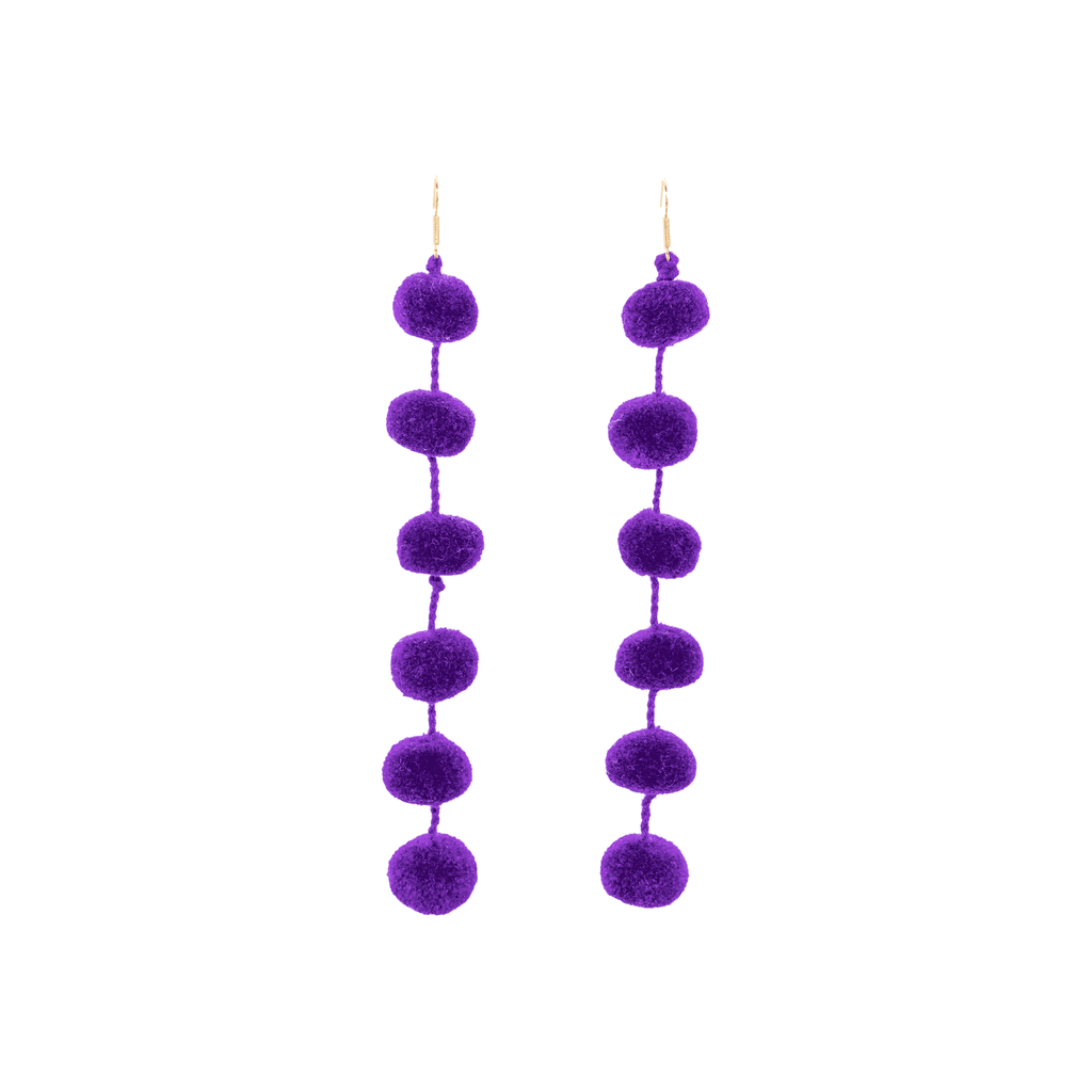Pom Drop Earrings in Ultra Violet - Josephine Alexander Collective