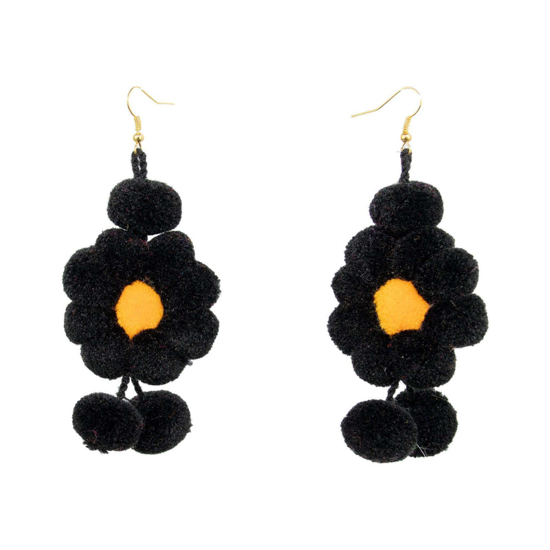Pom Flower Earrings in Black and Gold