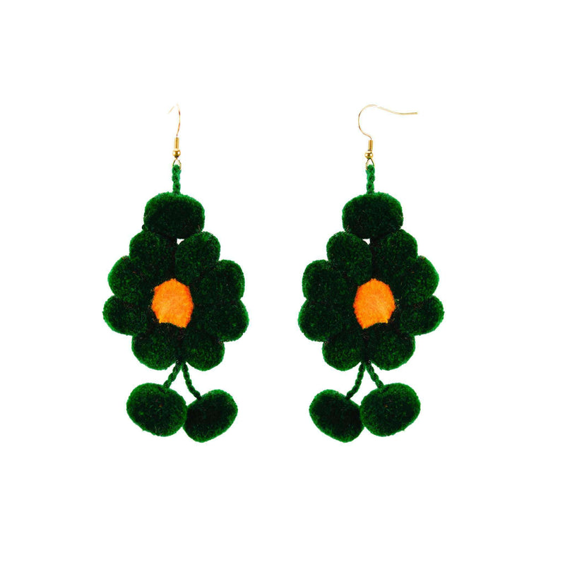 Pom Flower Earrings in Green - Josephine Alexander Collective