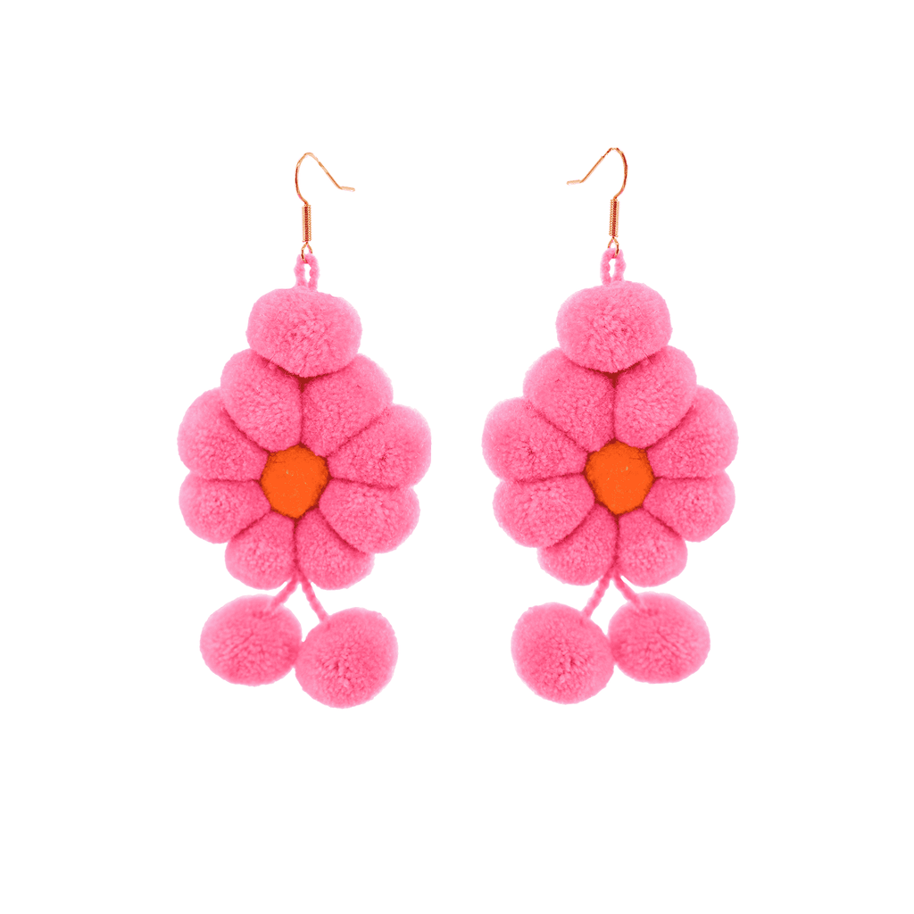 Pom Flower Earrings Rosa - Josephine Alexander Collective