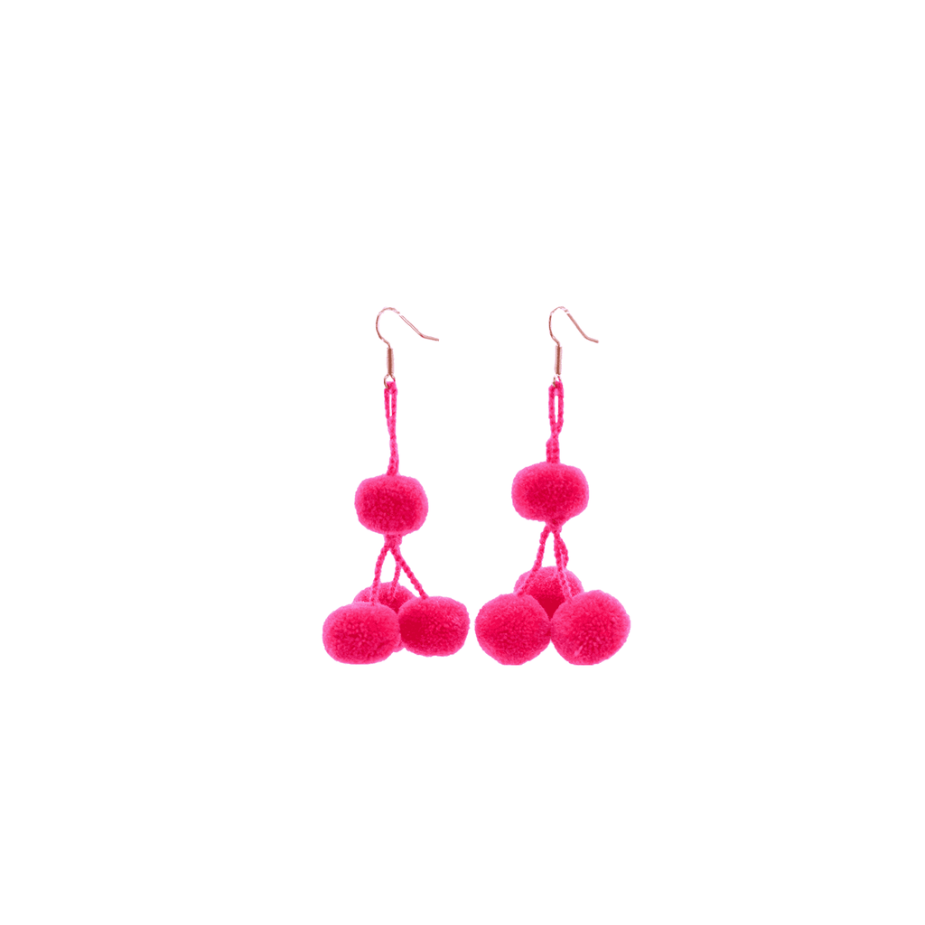 Pomponera Earrings in Hot Pink - Josephine Alexander Collective