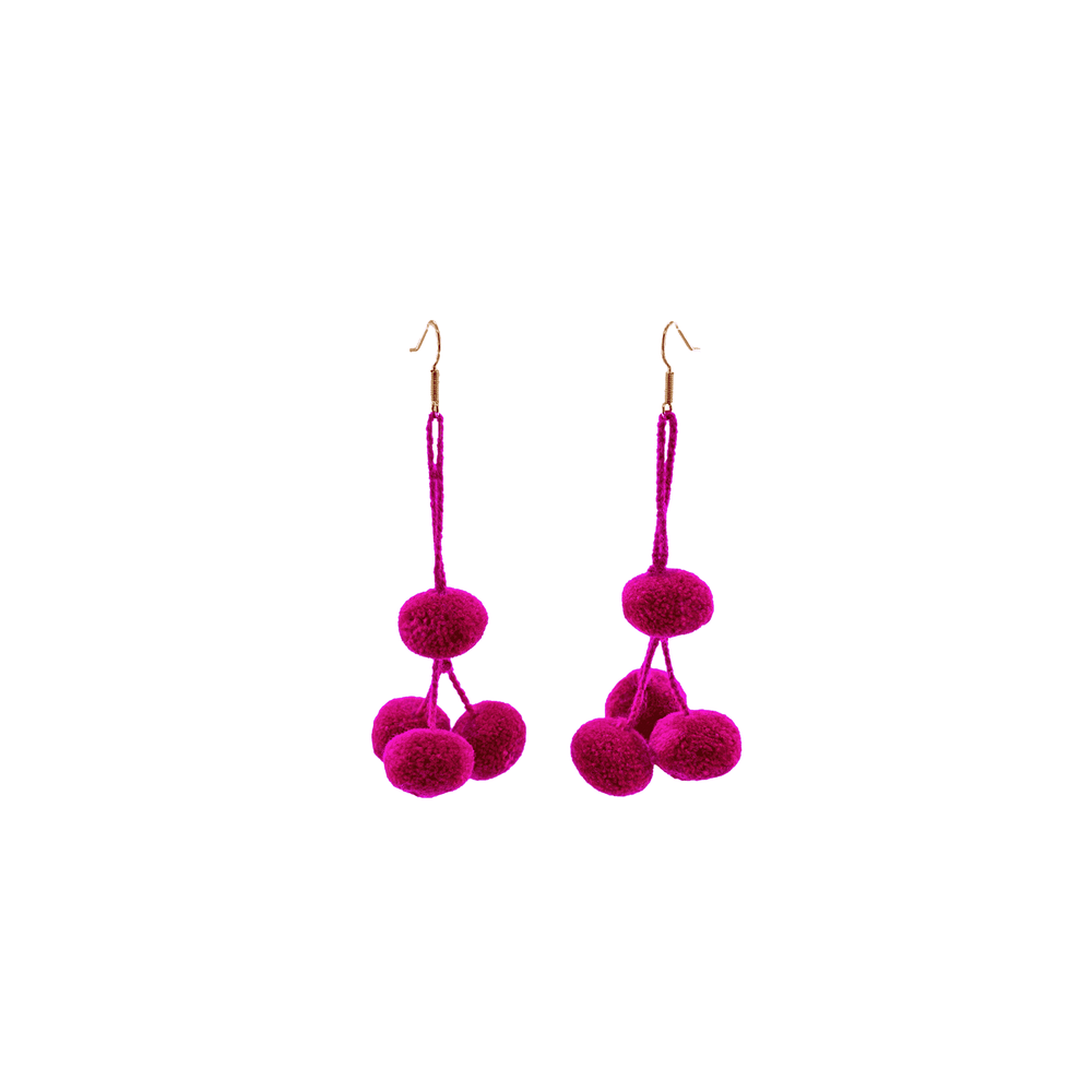 Pomponera Earrings in Raspberry