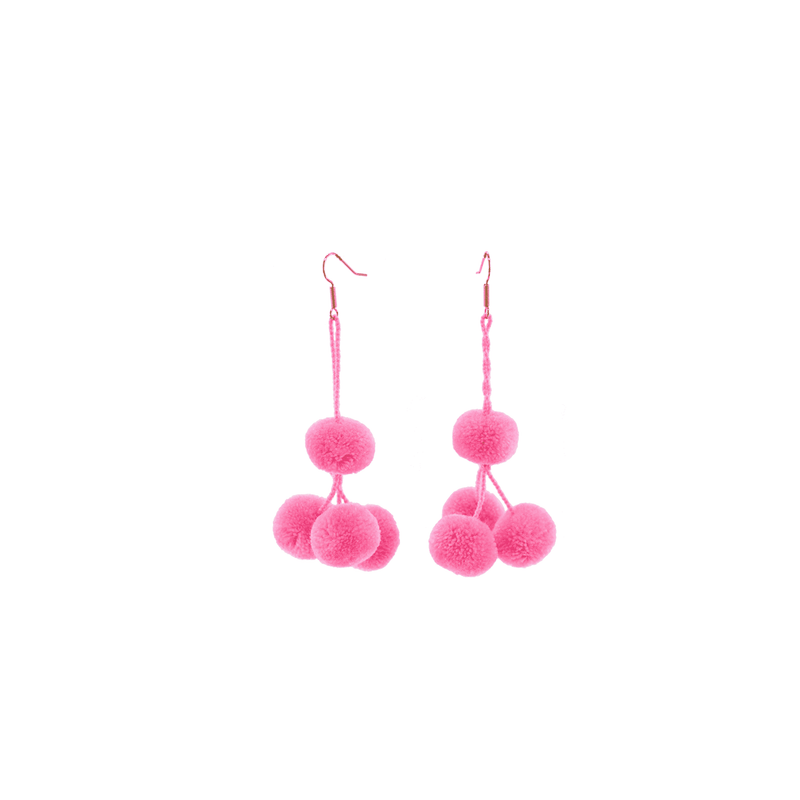 Pomponera Earrings in Rosa