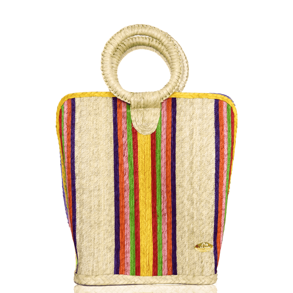 Quina Straw Bucket Bag in Pineapple Large