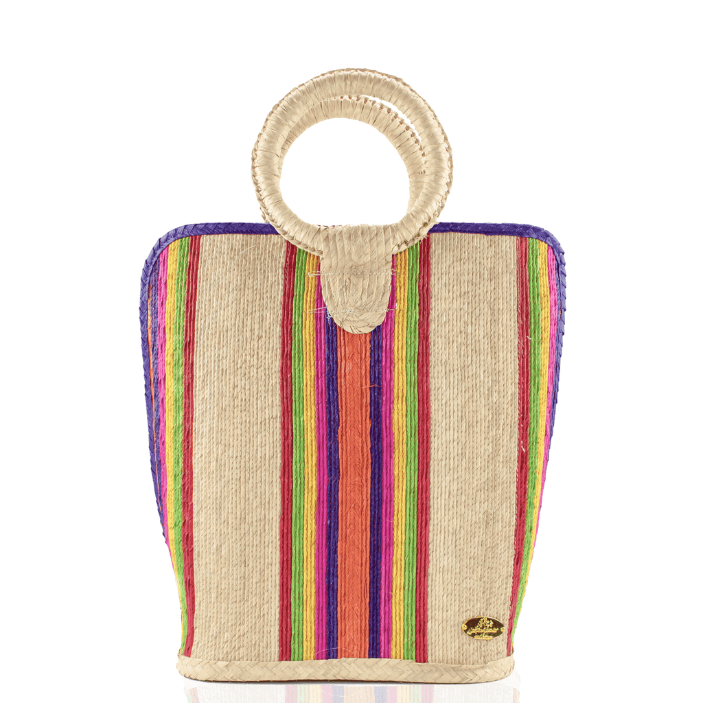 Quina Straw Bucket Bag in Purple Rainbow Large - Josephine Alexander Collective
