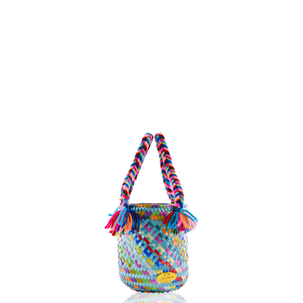 Mini Rainbow Bucket Bag in Caribbean Blue - Josephine Alexander Collective