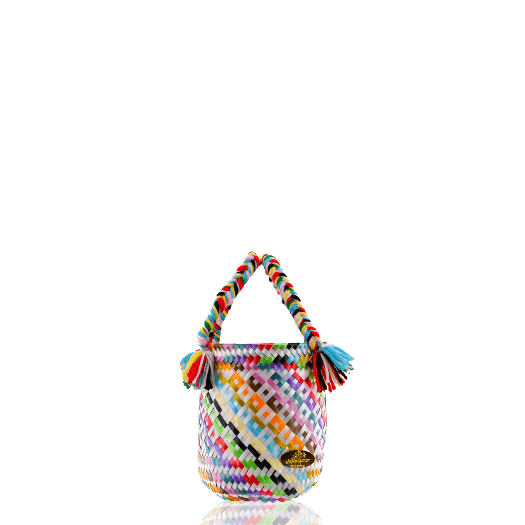 Mini Rainbow Bucket Bag in White