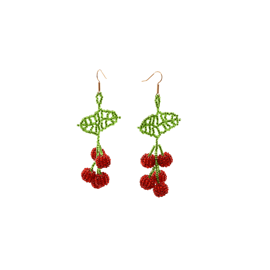 Cherry Beaded Earrings in Red