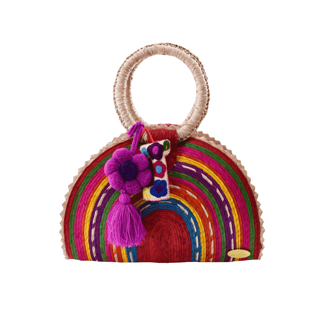 Rainbow Burst Straw Bag in Red Flowers - Josephine Alexander Collective