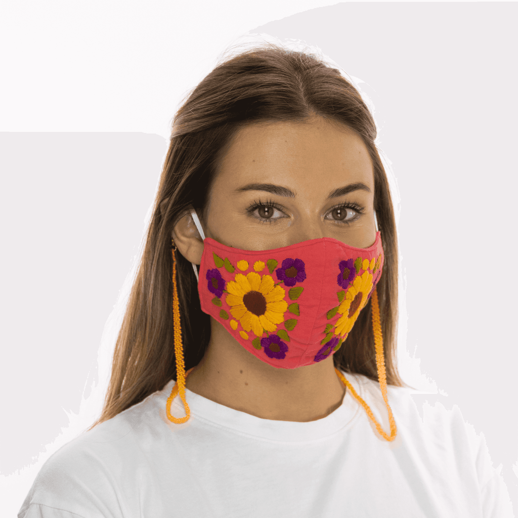 Rosita Mask with Chain - Coral - Josephine Alexander Collective
