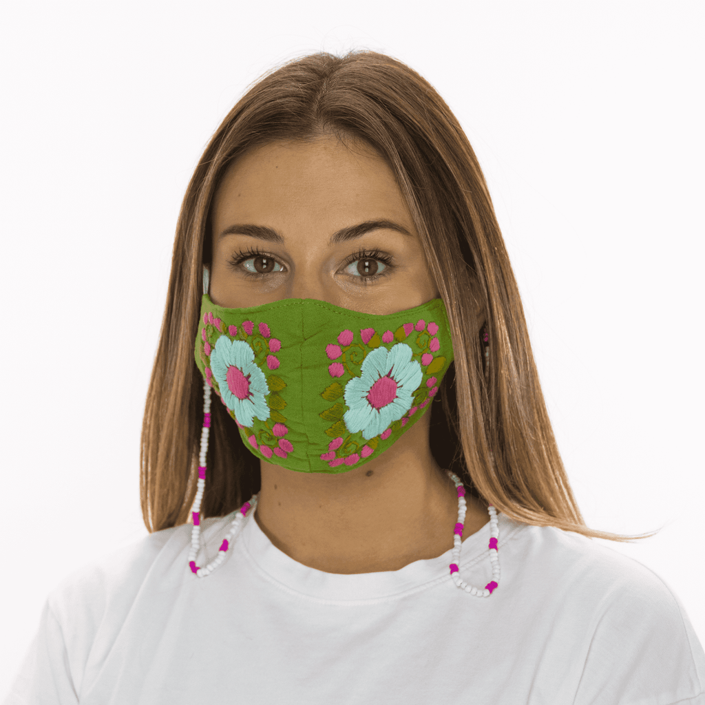 Rosita Mask with Chain - Green - Josephine Alexander Collective