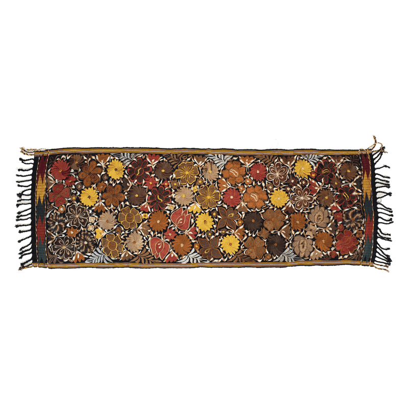Embroidered Table Runner in Fall Hues- Black with Autumn Flowers #4 - Josephine Alexander Collective