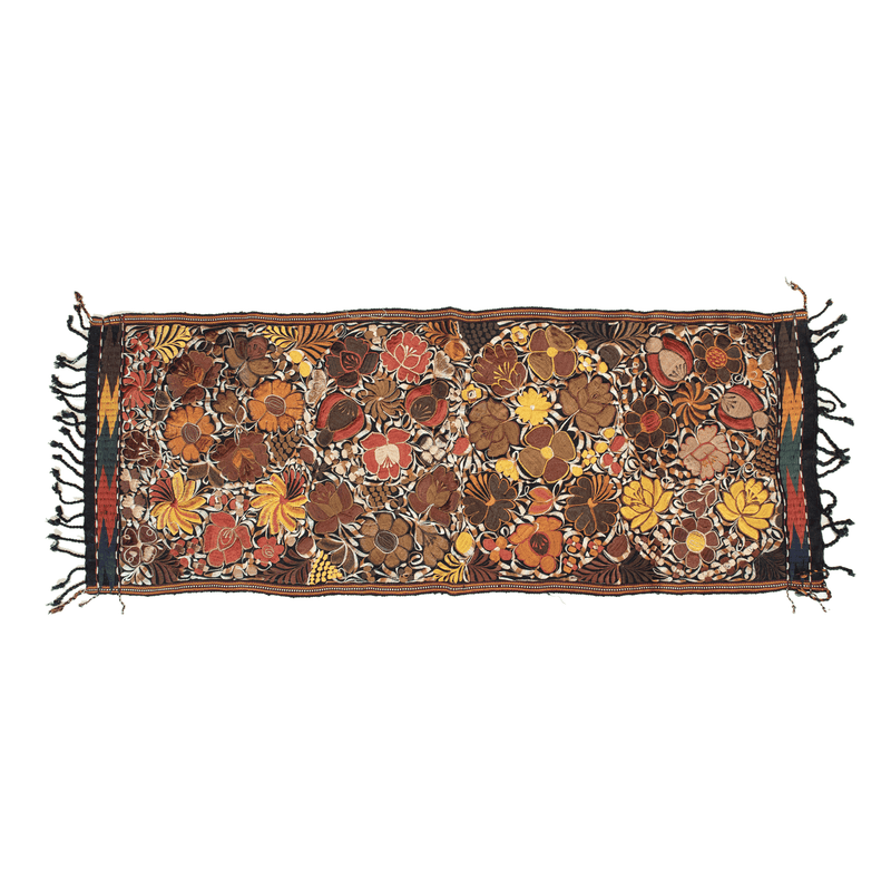 Embroidered Table Runner in Fall Hues- Black with Autumn Flowers #2 - Josephine Alexander Collective