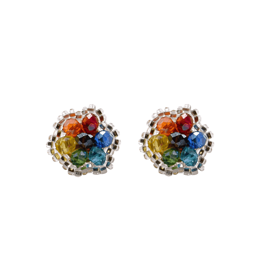 Celebration Stud Earrings in Silver Rainbow - Josephine Alexander Collective