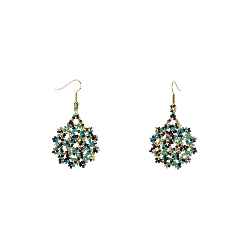 Snowflake Earrings in Blue Chocolate Chip - Josephine Alexander Collective