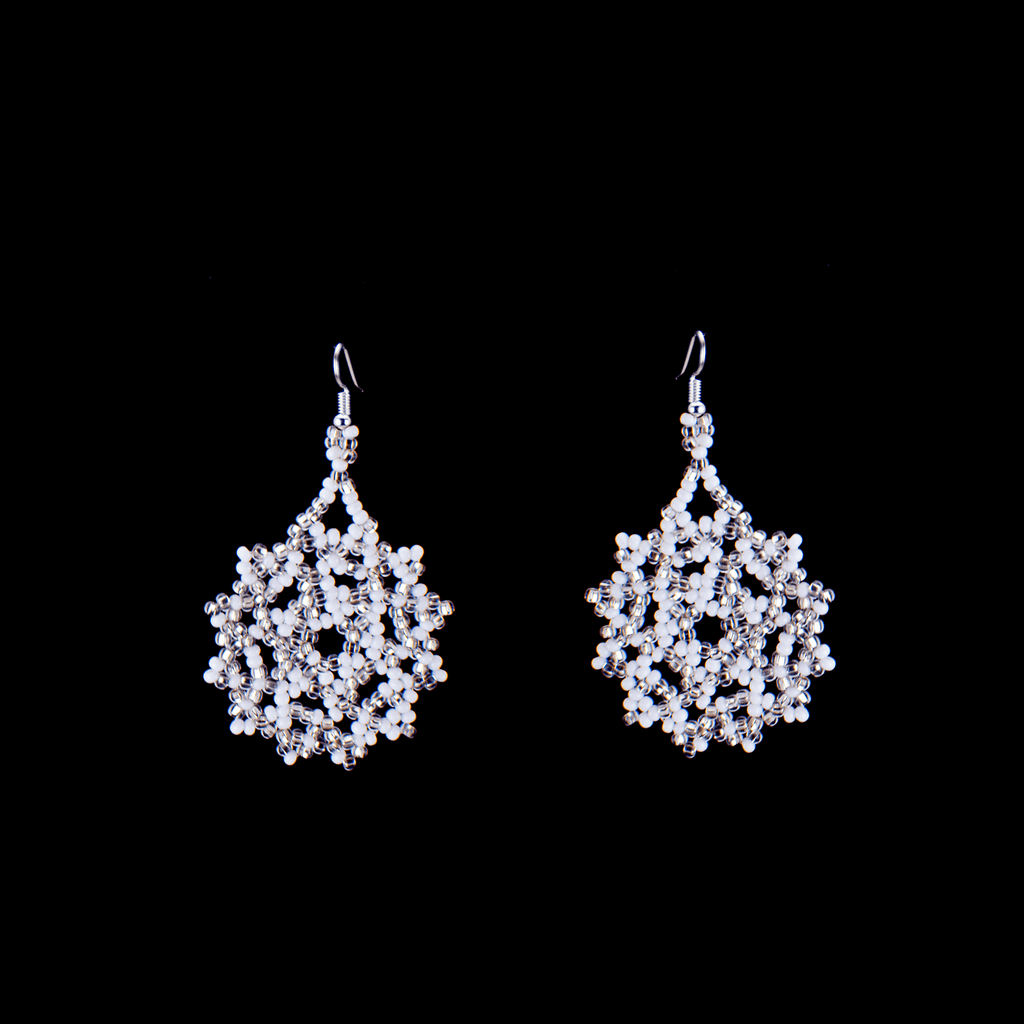 Snowflake Earrings in Snow