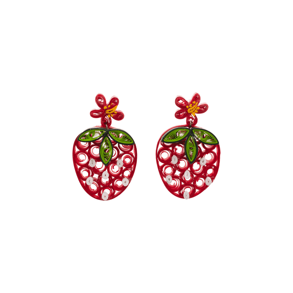 Sweet Strawberry Quilled Earrings