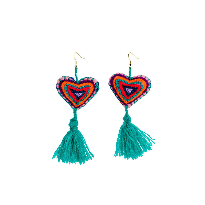 The Love-ly Earrings in Teal- Large