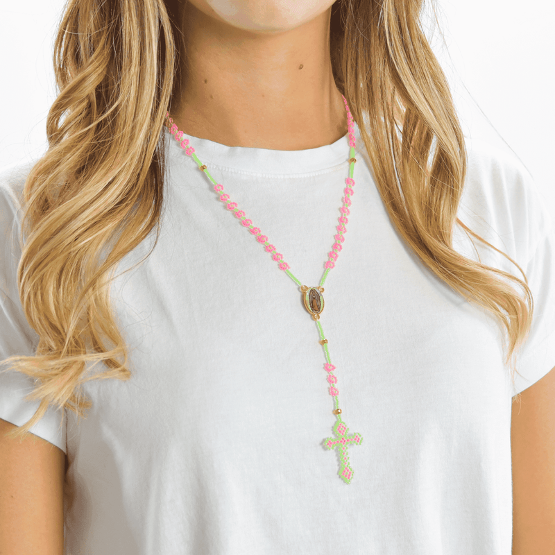 Thalia Beaded Rosary in Neon Green and Pink - Josephine Alexander Collective