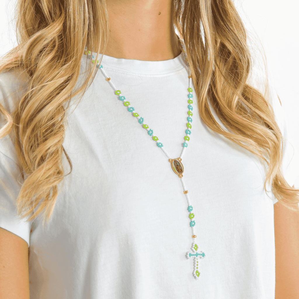 Thalia Beaded Rosary in Turquoise and Green - Josephine Alexander Collective