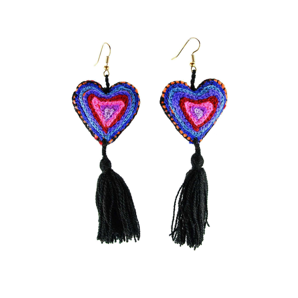 The Love-ly Earrings in Black with Blue -Large