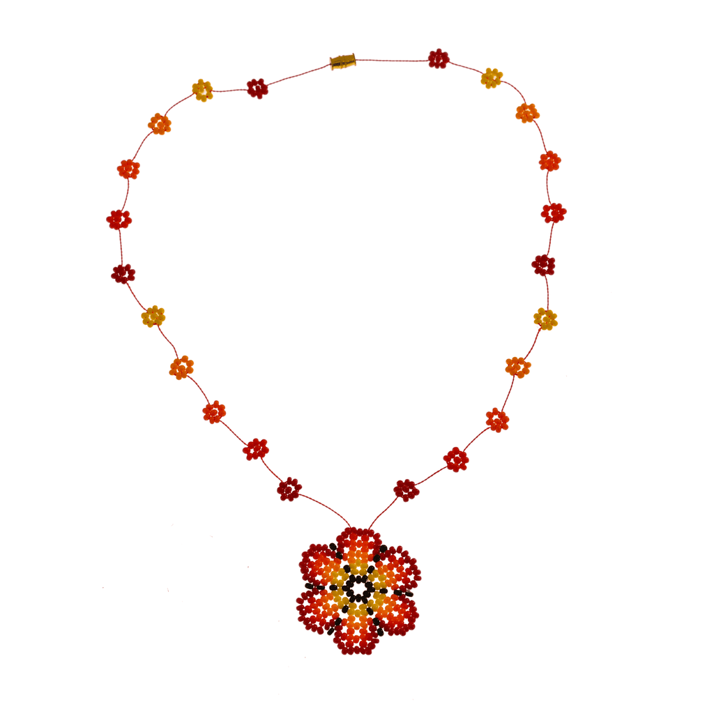 The Wild Daisy Chain Necklace in Red - Josephine Alexander Collective