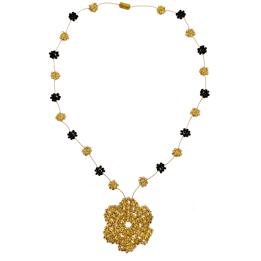 The Wild Daisy Chain Necklace in Black and Gold - Josephine Alexander Collective