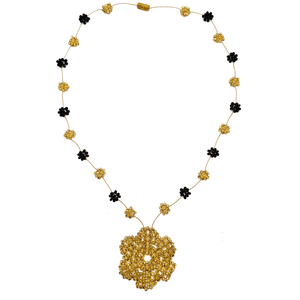 Wild Flower Necklace in Black and Gold