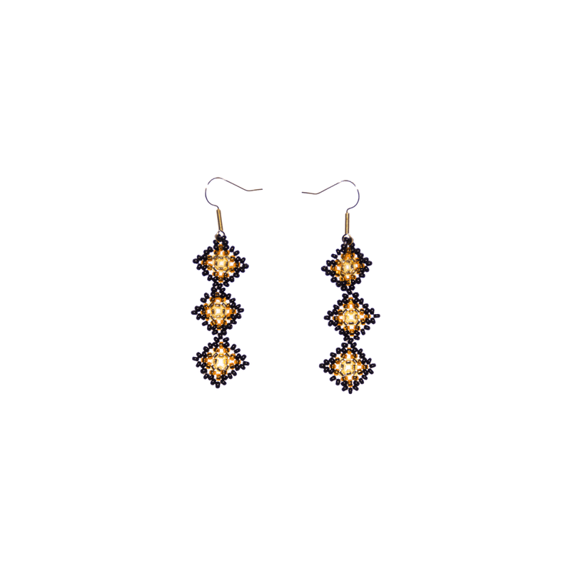 Tile Earrings in Black and Gold - Josephine Alexander Collective