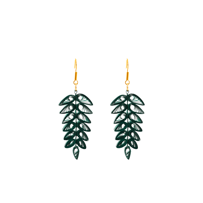Tracy Tropical Frond Earrings - Josephine Alexander Collective