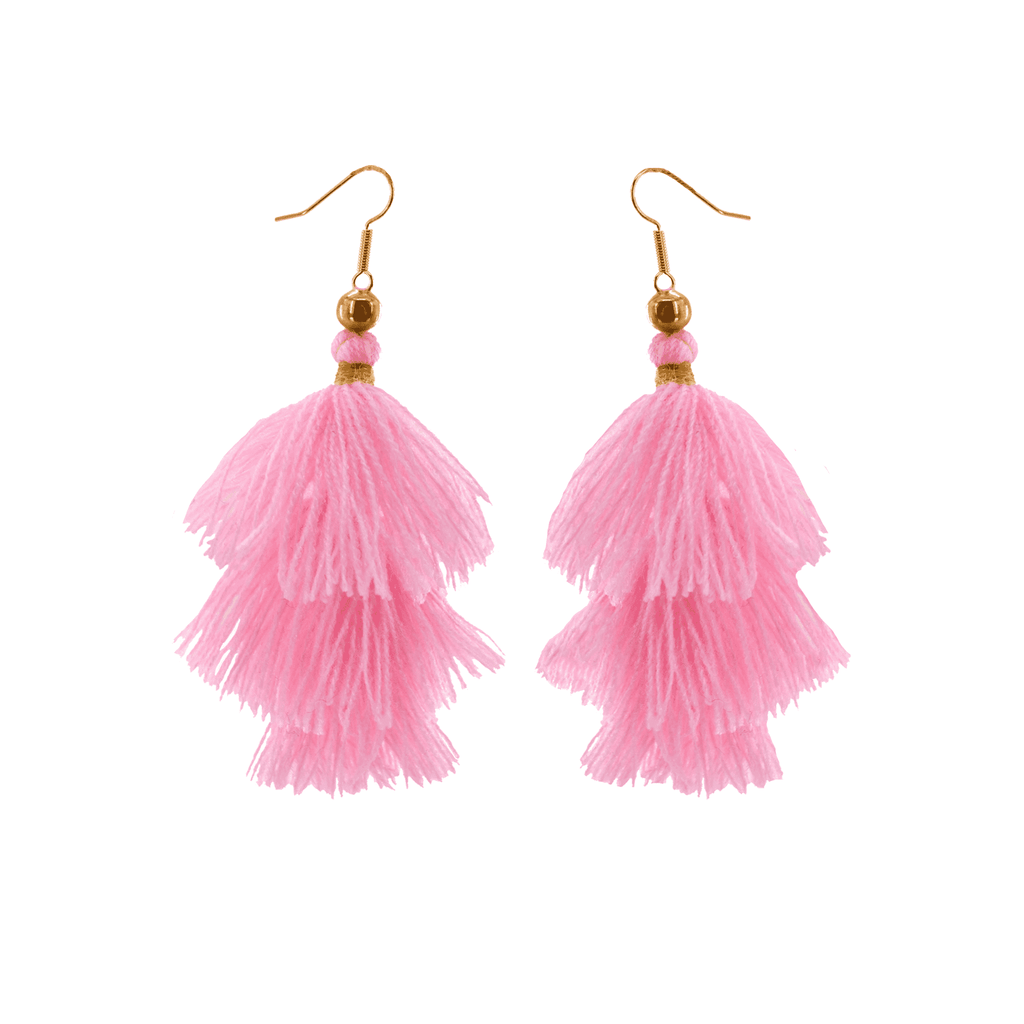 Triple Tassel Earrings in Rosa - Josephine Alexander Collective