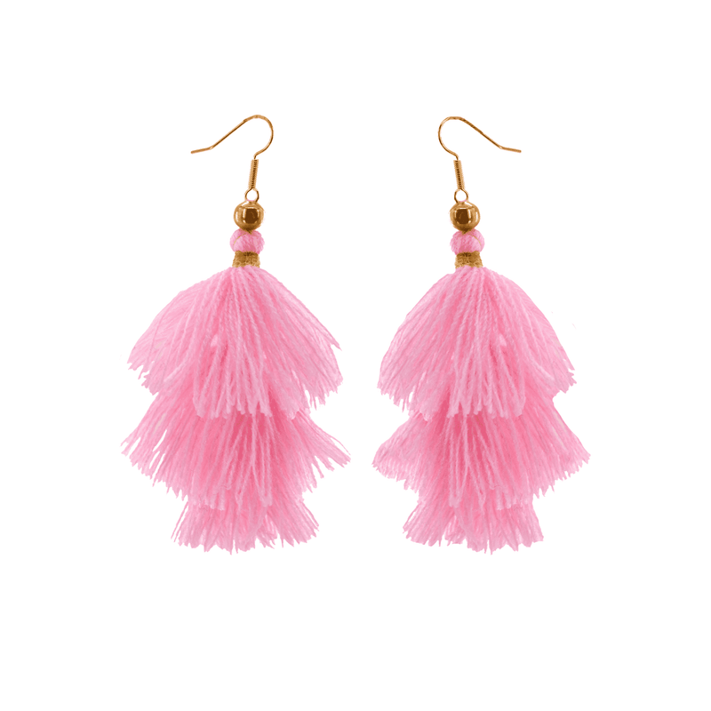 Triple Tassel Earrings in Rosa