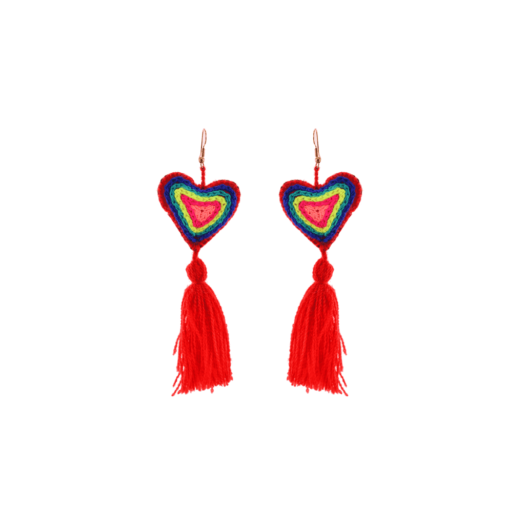 The Love-ly Earrings in Red Neon- Large - Josephine Alexander Collective