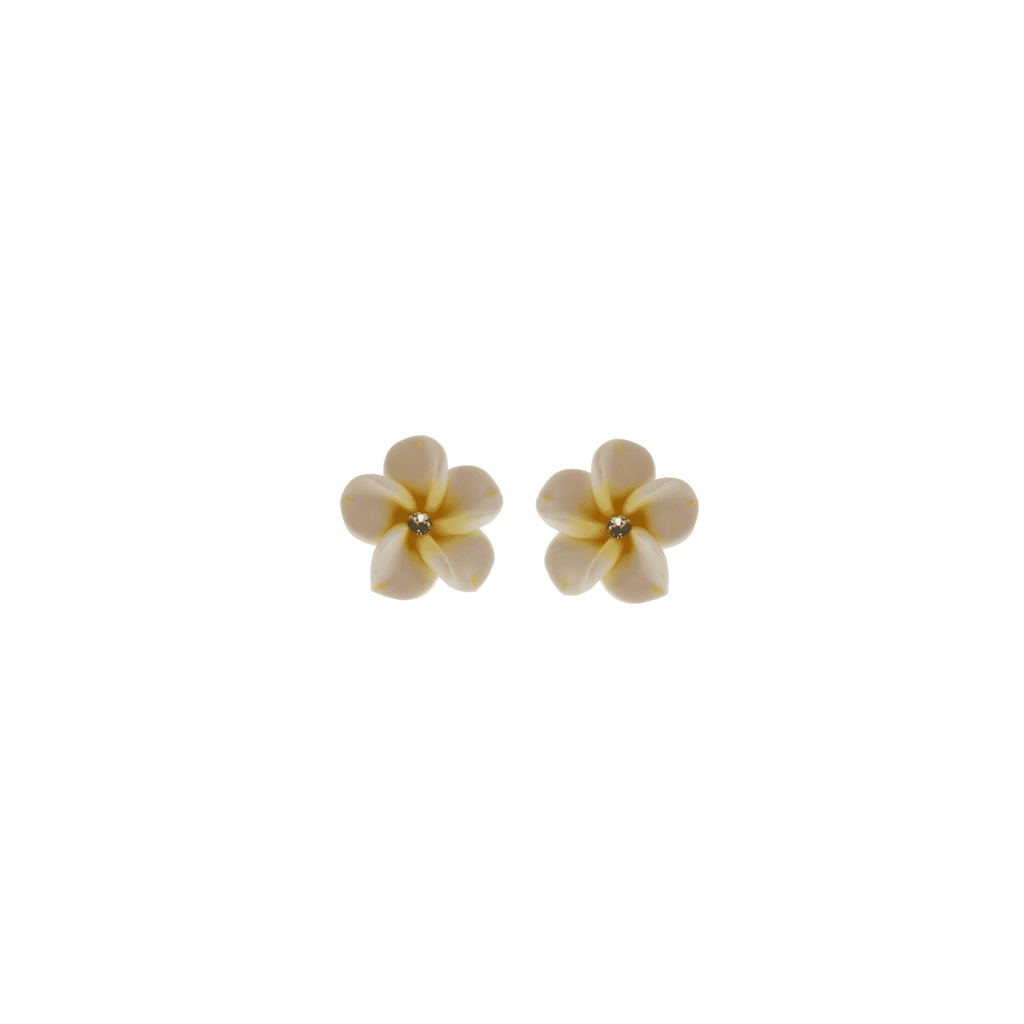 White and Yellow Frangipani Earrings